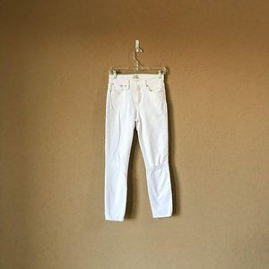 J. Crew Lookout High Rise Crop White Skinny Jeans
